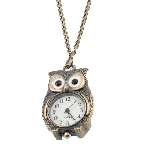 Lady Bronze Tone Night Owl Pendant Quartz Necklace