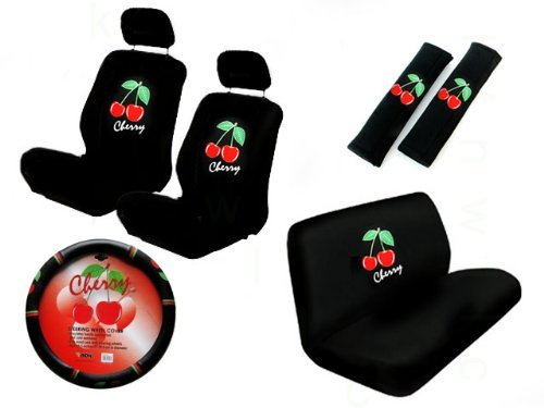 11 Piece Auto Interior Gift Set - Cherry - 2 Bottom Seat Covers, 2 Top Seat Covers, 2 Headrest Covers, 2 Seat Belt Shoulder Pads, 1 Steering Wheel Cover, 1 Bottom Bench Seat Cover, 1 Top Bench Seat Cover