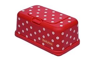 Funky Box FB05 Funkybox - Cajita para toallitas húmedas, color rojo diseño puntos en BebeHogar.com