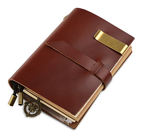 """7Felicity Classic Genuine Leather Notebook,5.3"""" x 4"""" Refillable Pages Leather Journal,Handmade Personalized Traveler's Notebook(Style 12S)(Wine-red)"""