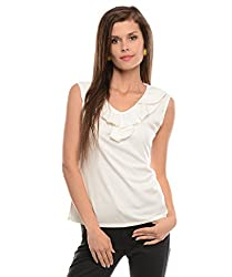 ELI Off-White Colour Party Wear Casual Women Top With Ruffled Neckline