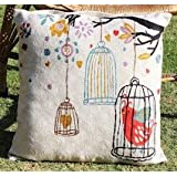 Crewel Pillow Bird In The Cage White Cotton Duck (20X20)