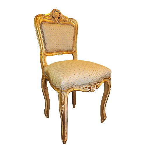 Antique Finish Gold Frame Cream Diamond Fabric Louis Bedroom Chair
