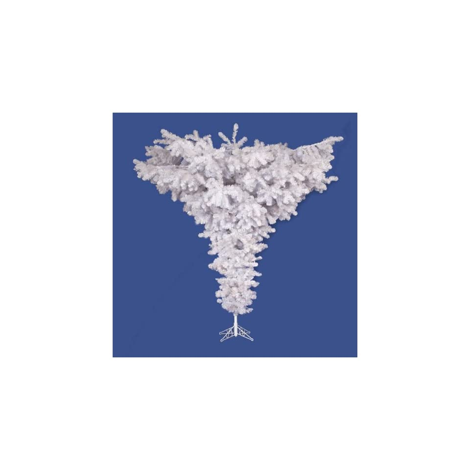 7.5 Crystal White Spruce Artificial Upside Down Christmas Tree   Unlit