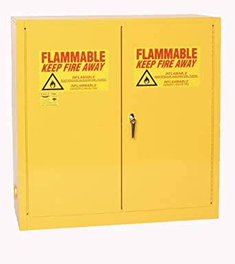 "Eagle 1932 Safety Cabinet for Flammable Liquids, 2 Door Manual Close, 30 gallon, 44""Height, 43""Width, 18""Depth, Steel, Yellow"