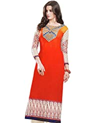 Exotic India Printed Long Kurti With Embroidered Patch On Neck