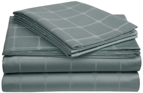 Pinzon 400-Thread-Count 100-Percent Cotton Square Dobby Sheet Set, Full, Sage Brush front-1001196