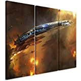 Leinwandbild 3 teilig Mass_Effect_3_Ship_3x90x40cm (Gesamt 120x90cm) _Ausführung schöner Kunstdruck auf echter Leinwand als Wandbild auf Keilrahmen