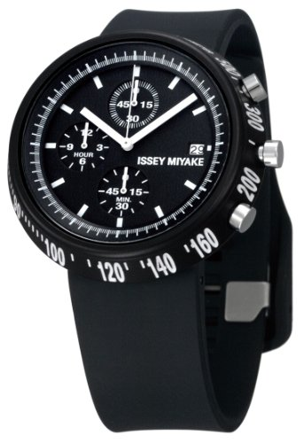 ISSEY MIYAKE TRAPEZOID SERIES GENTS CHRONOGRAPH BLACK PU ADJUSTABLE STRAP WATCH SILAT005