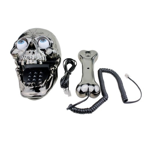 Generic Jumping Eyes Skull Telephone with Bone Handset - Black images
