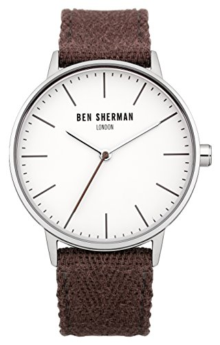 Ben Sherman Men's Quartz Watch with White Dial Analogue Display and Purple Fabric Strap WB009P