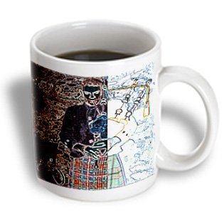 Mug_44108_1 Jos Fauxtographee Realistic - A Man Playing The Bag Pipes In Ireland At A Castle Done In Two Different Types Of Paint - Mugs - 11Oz Mug