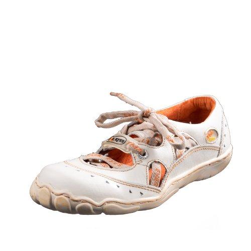 TMA EYES 4509 Sandalette Schnürer Gr.37-42 mit bequemen perforiertem Fußbett , Leder 39.35 super leichter Schuh der neuen Saison. ATMUNGSAKTIV in Weiß Gr.37