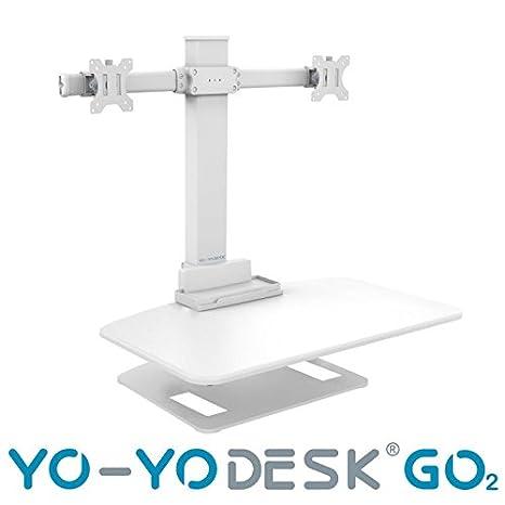 Yo-yo desk® go2, supporto da scrivania regolabile in altezza con braccio per doppio monitor, soluzione super ergonomica da seduti e in piedi, ottima soluzione per utenti di statura elevata, eccellente gestione dei cavi WHITE