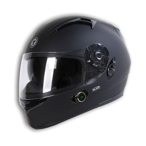 Torc T12B Blade Full Faced Helmet With Blinc 2.0 Stereo Bluetooth (Flat Black, Large)