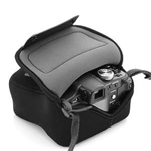 USA GEAR Sacoche Etui Appareils Photo Néoprène Résistant -Compatible avec Nikon Coolpix L330 / Canon EOS 100D, 1200D / Pentax K50 / Olympus / Sony et bien d'autres appareils photos reflex numériques.