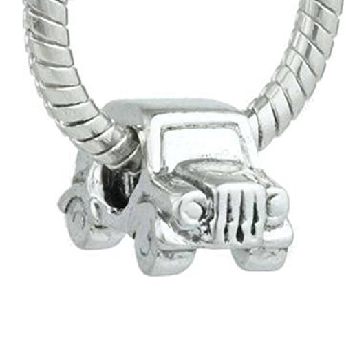 EGB Silver Jeep Car Charm Bead Fits Pandora & Similar Bracelets
