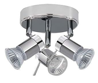 ARIES Chrome Finish Halogen Bathroom Ceiling Lights / Lighting with 3 Spotlights IP44