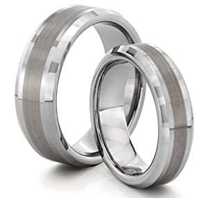 His & Her's 8MM/6MM Tungsten Carbide Brushed Silver Wedding Band Ring Set (Available Sizes 4-14 Including Half Sizes)