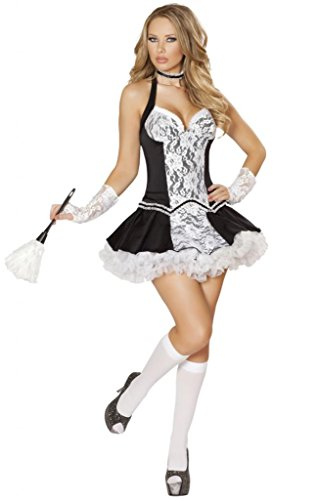 Sexy Lace Front Halter Maid Halloween Costume