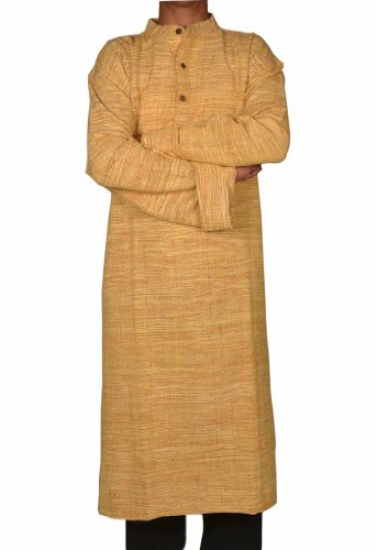Hand Made Casual Wear Indian Khadi Mens Long  Kurta Fabric For Winter & Summers Size 5XL