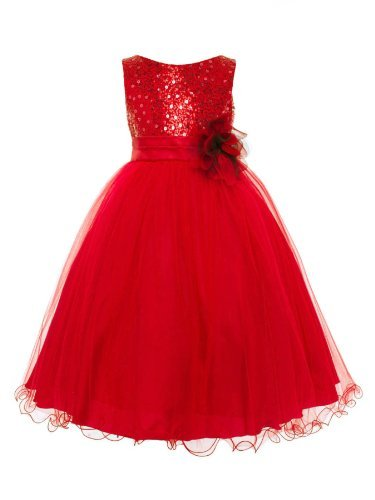 Absolutely Beautiful Sequined Bodice With Double Tulle Skirt Party Flower Girl Dress-Kd305-Red-6 front-956250