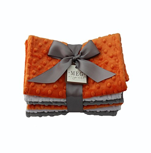 MEG Original Baby Burp Cloth Set of 6 in Orange, Gray, White - 1