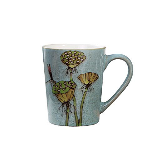 Riimax Exotic Hand-painted Art Flowers Ceramic Coffee Cup Mugs 15 OZ 4Inch (Blue) (Renaissance Coffee Cups compare prices)