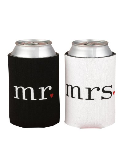 Spring Rose(TM) Wedding Accessories Mr. and Mrs. Can Coolers Gift Set. These Are The Perfect Present For Newlyweds Or For An Anniversary Couple.