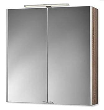 LED Mirror Cabinet DekorALU 65.5 cm Body Sides: Red, (PHOTO: Oak) 124512010-0330
