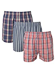 3 Pack North Coast Pure Cotton Checked Boxers