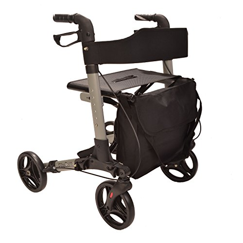 X-Cruise-Folding-lightweight-compact-rollator-walking-frame-with-seat-choice-of-colours-Silver