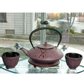 New Raspberry Color Cast Iron Tea Set Bamboo #ts7-06wr