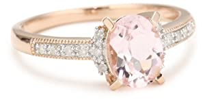 Rose Gold Plated Sterling Silver Morganite and Diamond Ring, (.07 Cttw, G-H Color, I2-I3 Clarity), Size 7