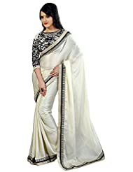 SRP Fashion Selection Women's Chiffon Saree (SRP105-37 , Off-White)