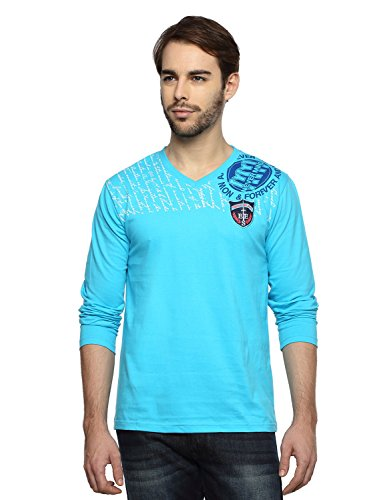 Teen Tees Men's Cotton Embroidered Turquoise Colour Full Sleeves V Neck Tshirt