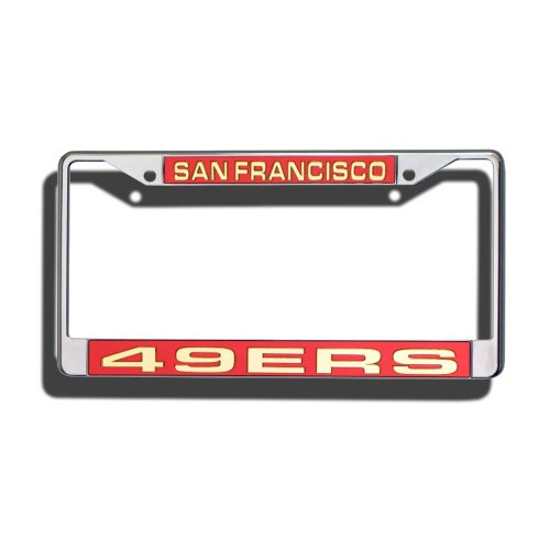 NFL San Francisco 49ers Laser-Cut Chrome Auto License Plate Frame (Forty Niner License Plate Frame compare prices)