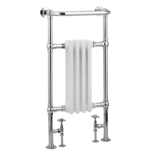 """Hudson Reed - Marquis Traditional Heated Towel Rail Hydronic Warmer & Valves - 19.5"""" X 37"""" - Mild Steel - Bathroom Radiator Heater - Fixing Pack Included - Chrome & White Finish"""
