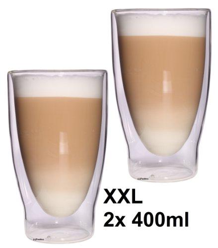 """2x 400ml XXL doppelwandige Latte Macchiato, Eistee und Longdrinkgläser """"Lattechino Grande"""", edle extra große Thermogläser mit Schwebeeffekt von Feelino"""