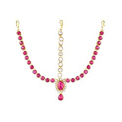 I Jewels Traditional Gold Plated Designer Stone Mathapatti Maang Tikka for Women T1076Q (pink/Rani)