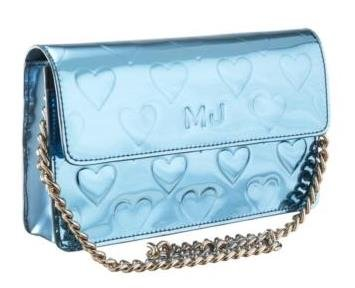 Marc By Marc Jacobs Limited Edition Metallic Heart Clutch Evening Bag Handbag Blue