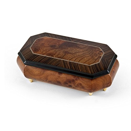 Gorgeous 22 Note Natural Wood Tone Classic Style Cut Corner Music Box with 22 Note Tune-Rhapsody In Blue
