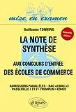 Note Synthese aux Concours d'Entrée des Ecoles de Commerce Admissions Paralleles Bac+2+3 (Ne)