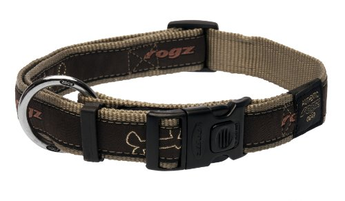 Rogz Fancy Dress Extra Large 1-Inch Armed Response Dog Collar, Bronze Bone Design