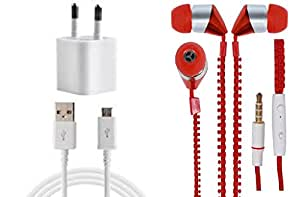 JIYANSHI Huawei Ascend Y530 Compatible Combo of 2A Wall Charger/Portable Charger & Zip Style Earphone Red