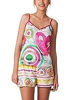 Desigual Camisa de Pijama Paint Party (Blanco / Rosa / Verde)