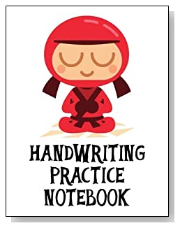 Handwriting Practice Notebook For Children - Cute little red ninja makes a fun cover for this handwriting practice notebook for younger children.