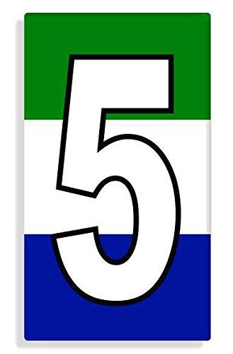 Sierra Leonean - Sierra Leone Flag Number 5 Sticker Self Adhesive / Aufkleber Für Wheelie Bin / Haustür / Mülltonne / Mülleimer - Anzahl wählen