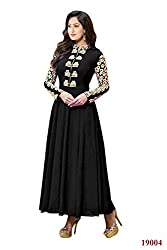 Rajnandini Women's Faux Georgette Black anarkali style gown with Emboidery Anarkali Suit - Dress Material