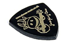Black 'Jumping Cow' Leather Plectrum/Pick for Ukulele, Banjo etc